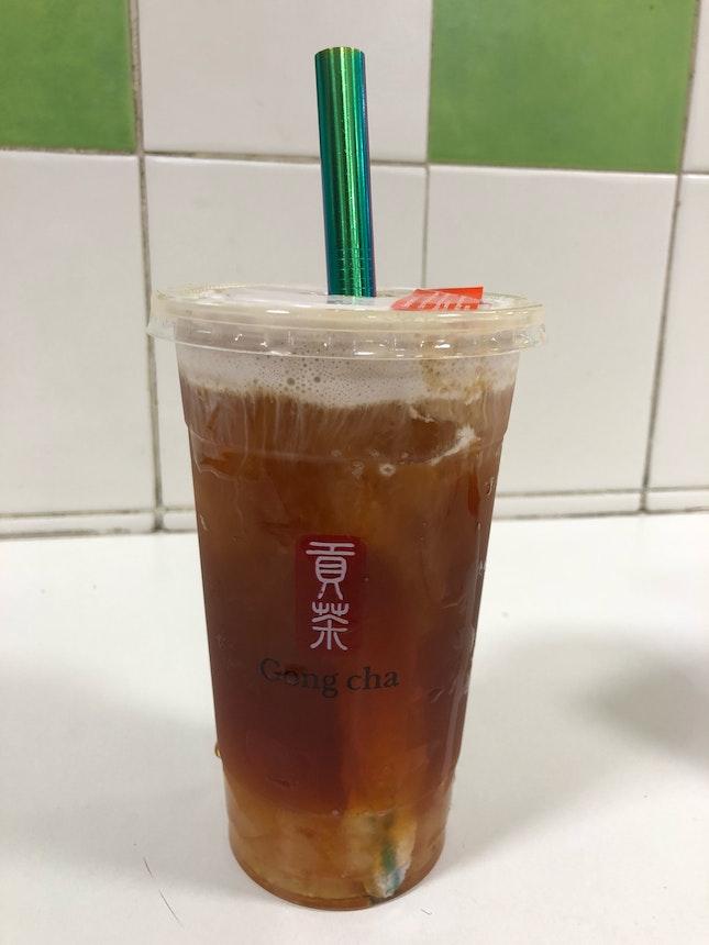 Taro Milk Foam Black Tea, 30% Sugar With White Pearl (Large, $4.30 + $0.70)