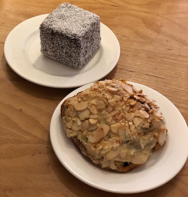 Chocolate Lamington ($5.80) & Chocolate Almond Croissant ($4.30)