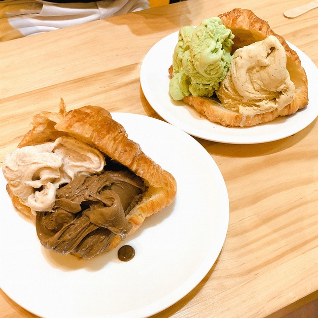 Double Scoop On Butter Croissant ($9 + $4.50)