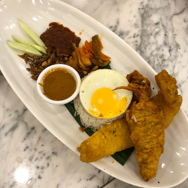 Nasi Lemak With Seafood (Fried Dory & Squid)