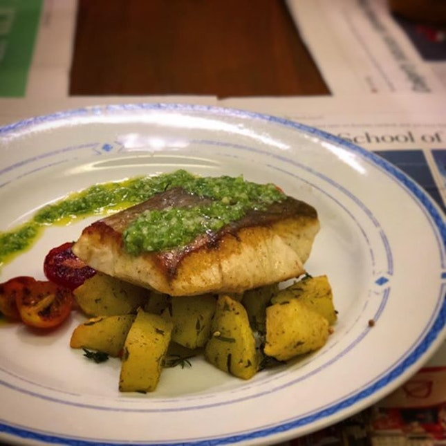 Tonight's simple dinner of Pan Seared Sea bass, Roasted Potatoes, Pan friend Brussels Sprouts (hidden) and Tomatoes.