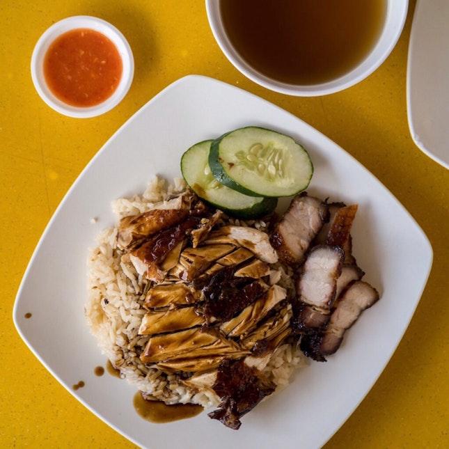 Chicken Rice + Char Siew [~$4]