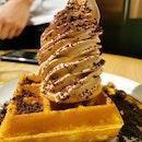 Waffle with Milo Dinosaur Soft Serve