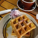 Waffle With Single Scoop And Tea (~$15)