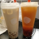 Golden oolong with earl grey jelly & Iced peach tea with red tea jelly