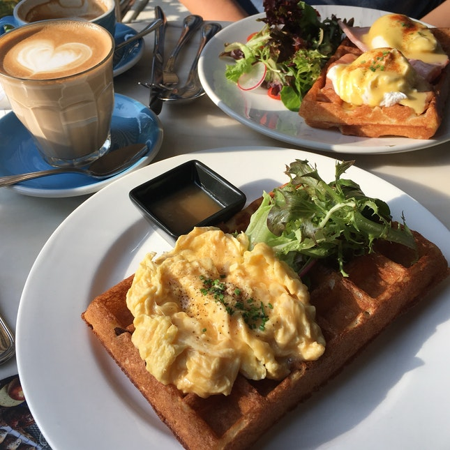 Savoury Waffle With Scrambled Egg And Egg Benedict