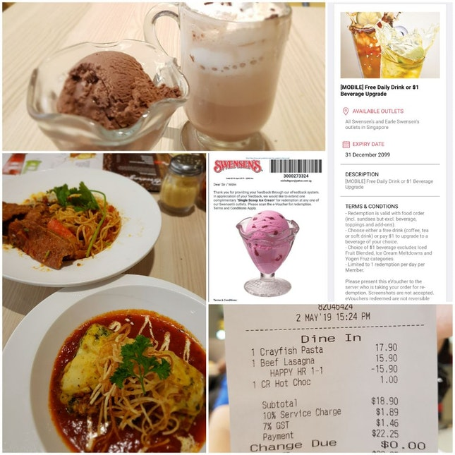 1-for-1 Main (2.30pm~4.30pm) + Free Drink For Member + Free Ice-cream For Feedback Submission