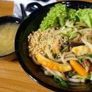 Vegan seafood udon.