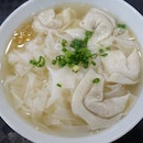 Flat rice noodles and fish dumplings soup for dinner.