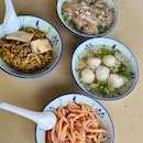 Fishball Noodles + Sliced Abalone Minced Meat Noodles
