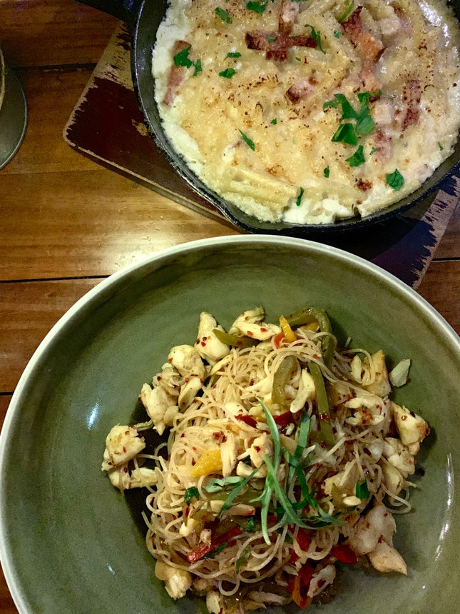 Capellini Crabmeat and Mac And Cheese