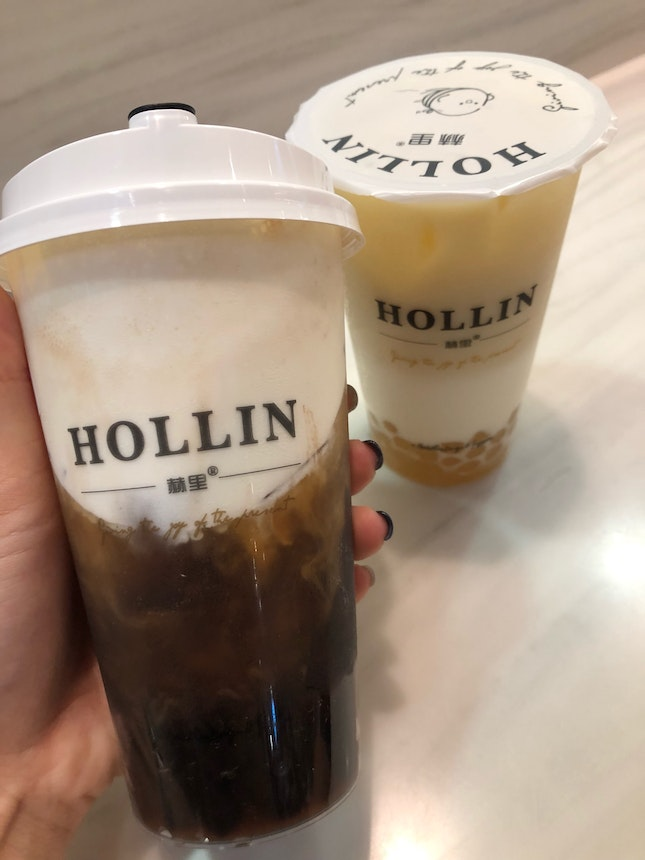 Black Tea Macchiato w Mocha Pearls & Green Tea w Honey Pearl