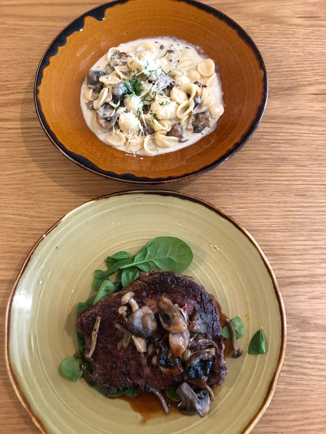 Wild Mushroom Orecchiette & Rib Eye Steak