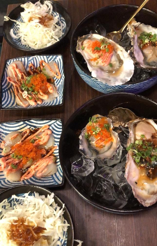 Mentai Hokkaido Oysters & Torched Hokkaido Scallops