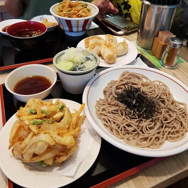 Cold Soba with Vegetable Tempura