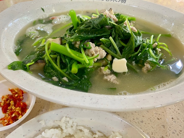 Spinach Soup + Rice | $4.50