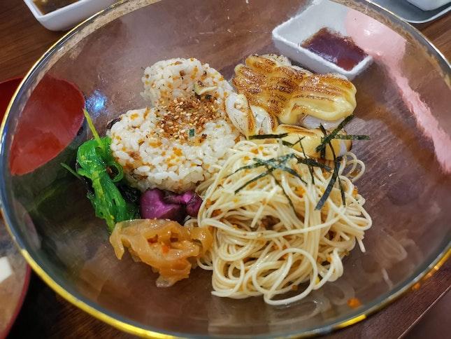 Scallop Spaghetti + Truffle Rice ($12.90)