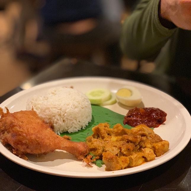Fried Chicken + Pork Rendang Nasi Lemak.