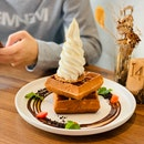 Egg Waffle With Madagascar Ice Cream.