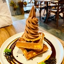 Classic Waffle With Valrhona Chocolate Ice Cream.