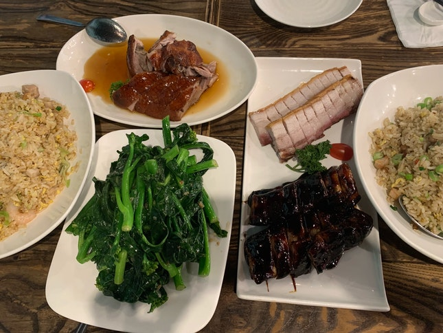 Char Siew, Roasted Pork, Duck, Stir Fried Kailan, Sambal Fried Rice And Yang Chow Fried Rice