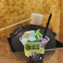 matcha parfait deluxe with white mochi, red beans, matcha jelly, soybean warabi mochi & brown sugar jelly