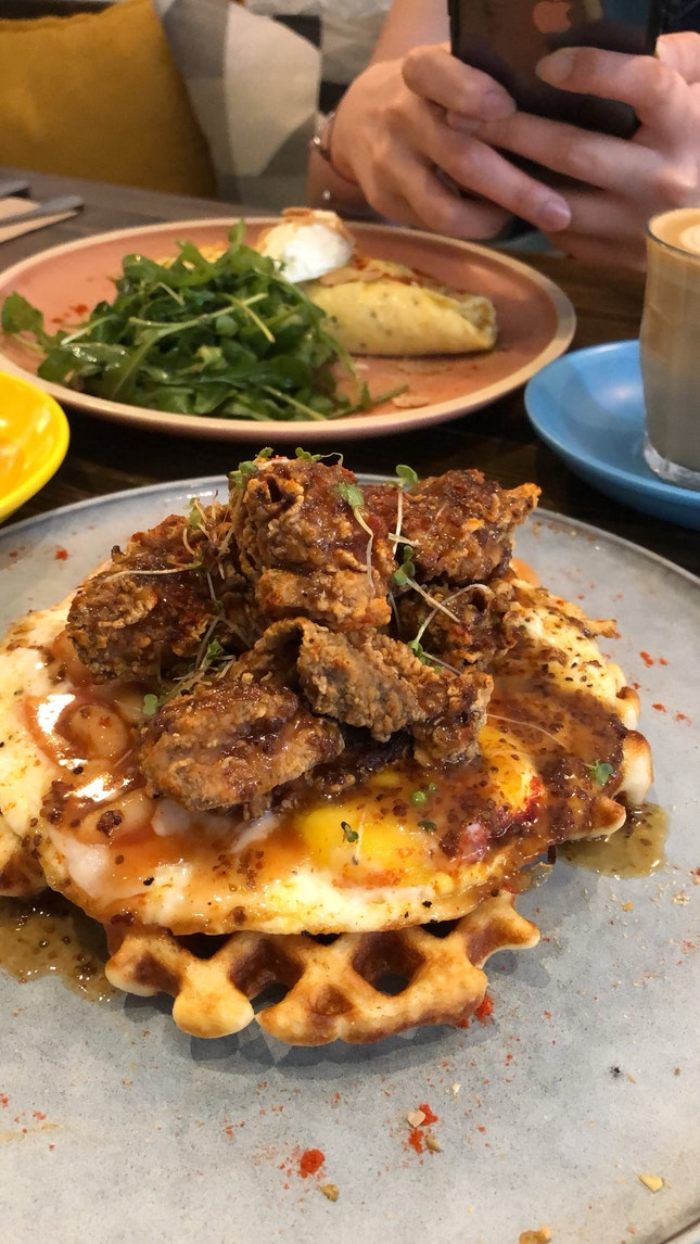 Fried chicken Waffle & Perfect Omelette