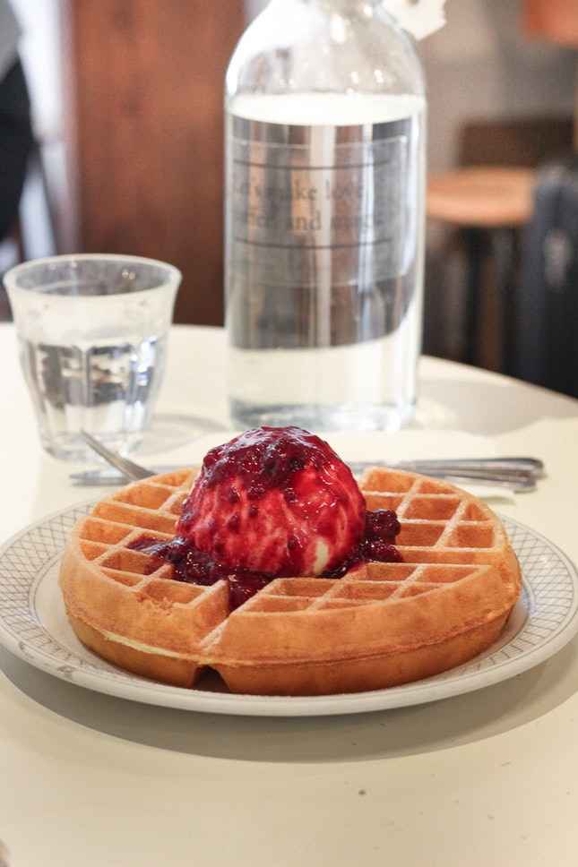Waffle with Mixed Berries Compote