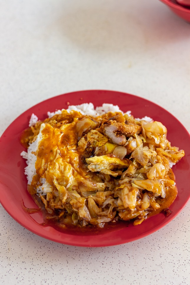 Curry Rice, Pork Chop, fried Egg, Chap Chye