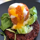 Beetroot Rosti with sous vide egg and smoked salmon