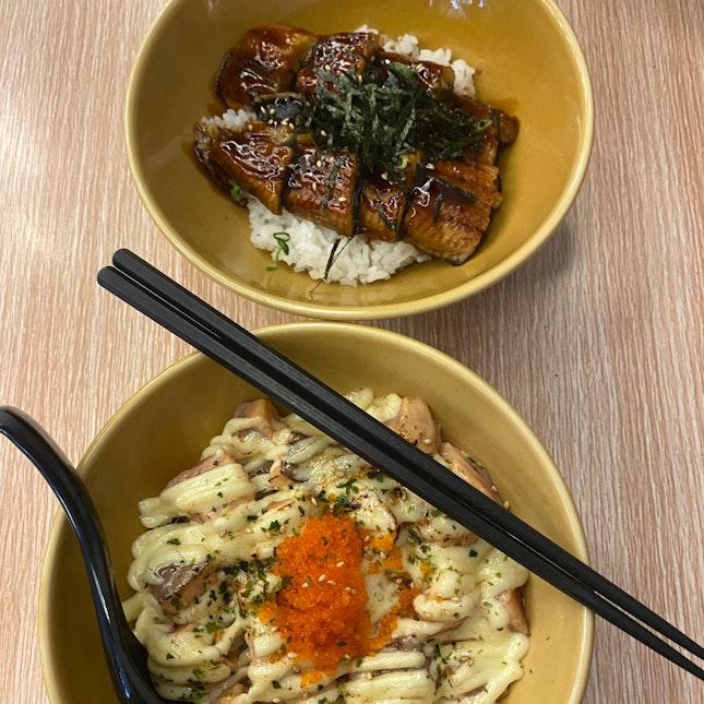 unagi and aburi salmon don