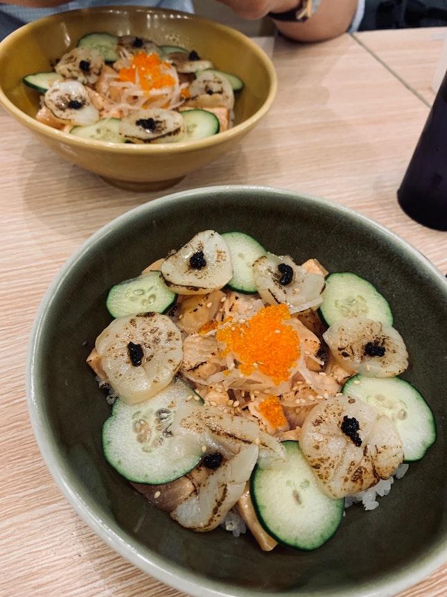 Aburi Scallop Salmon Don ($17)