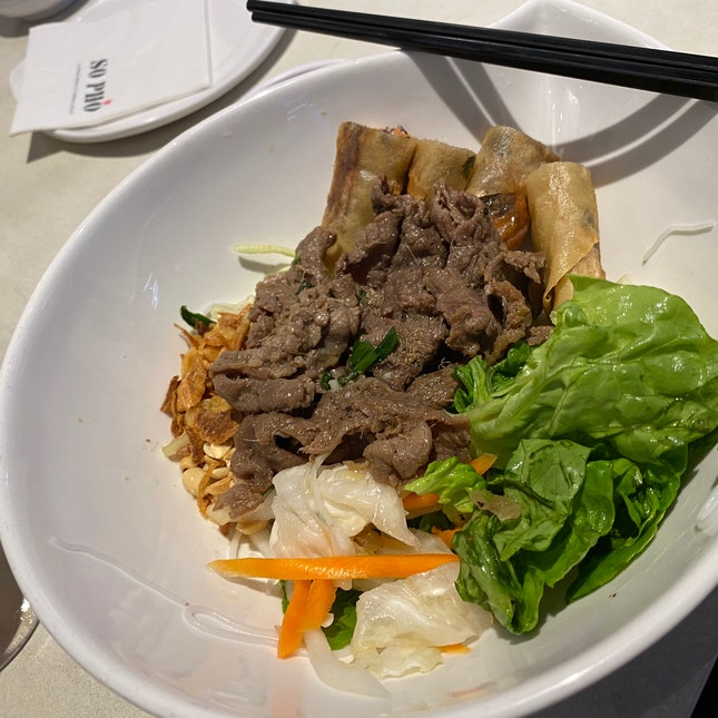 Sliced Beef And Spring Rolls Dry Noodles