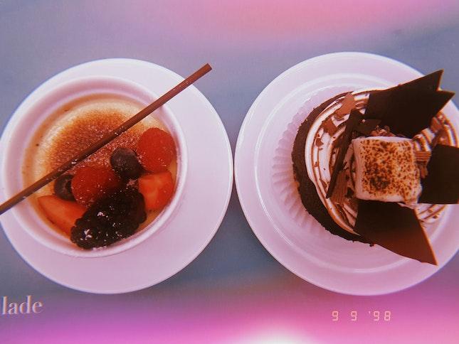 creme brulee and smores cupcake