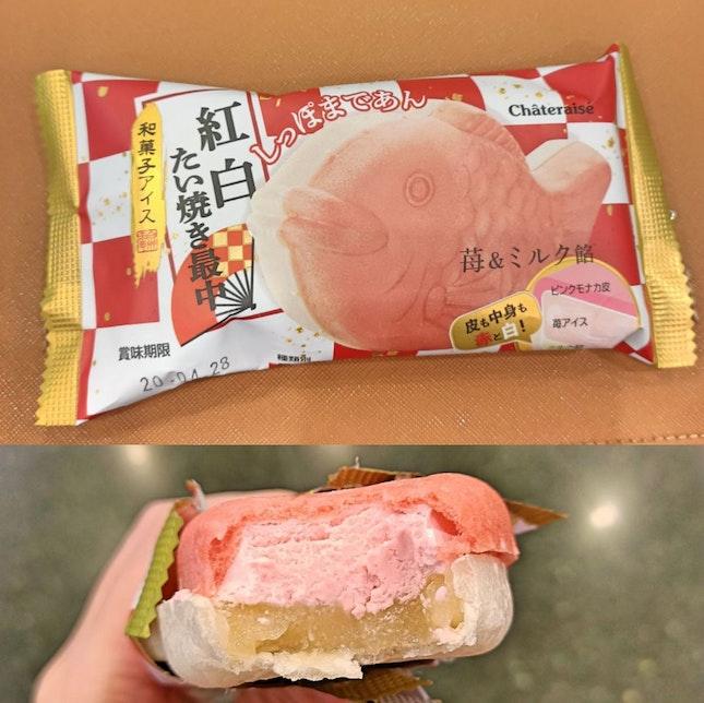 Happy Taiyaki Ice Cream Strawberry & Milk