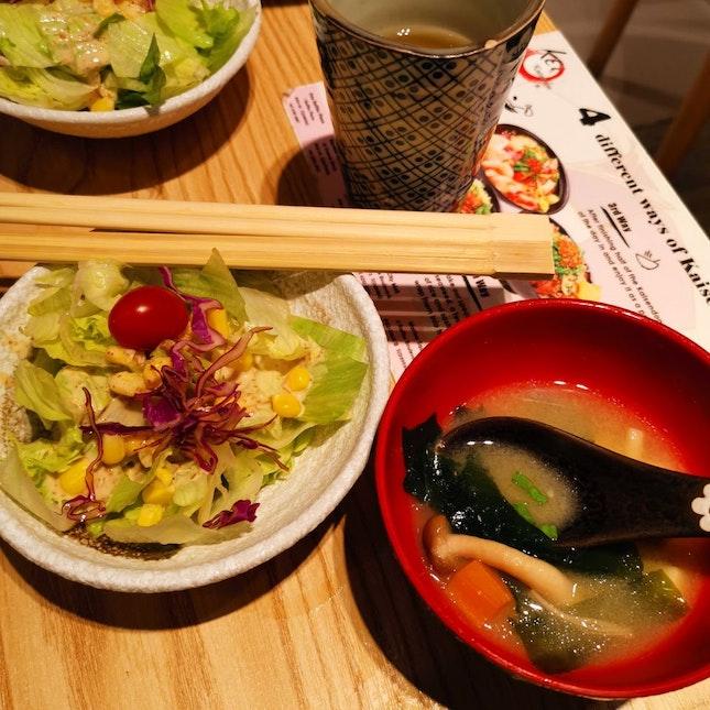 Garden Salad, Miso Soup (2sgd each)