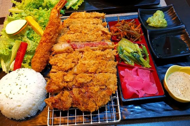 Sirloin Beef Katsu Don With Breaded Shrimp (42sgd)