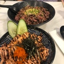 Tuffle Wagyu Don $27.0 (L) And Mentaiko Salmon Don $24.90 (R)