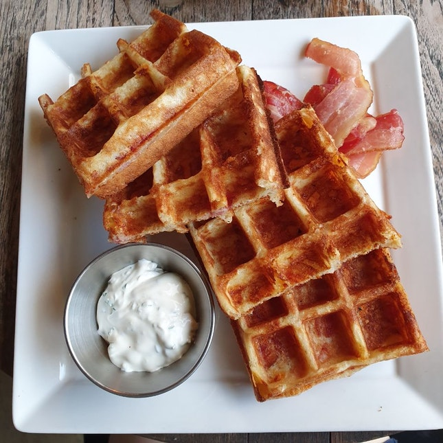 Cheddar Cheese Bacon Waffles ($20)