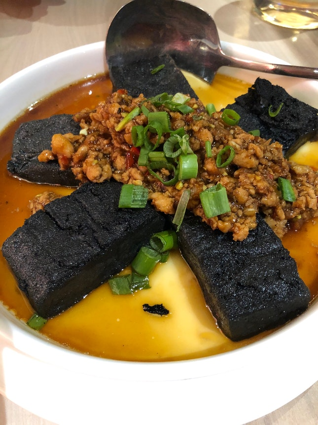 Charcoal tofu with steamed egg and minced pork