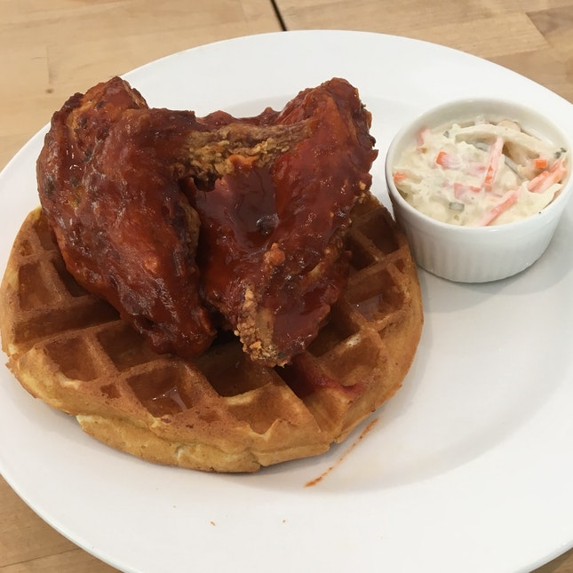 Waffles With Spicy Chicken & Slaw ($22)