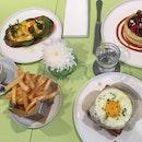 Truffle Croquet Madame, Eggs Royale, Ricotta Pancakes