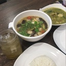Clear Chicken Tom Yam Soup And Green Curry