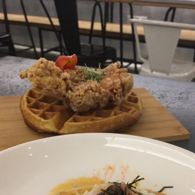 Waffles with fried chicken