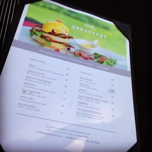 #breakfast #menu # breakfast at Platinum grill