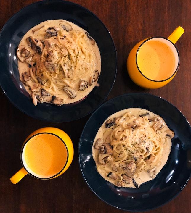 ( Truffle Mushroom Pasta + Thai Milk Tea ) * 2