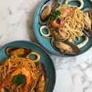 Seafood Aglio Olio & Tom Yum Seafood Pasta