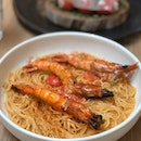 Mentaiko Tiger Prawns Capellini
