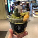 Black sesame soft serve with warabi mochi [$5.20]