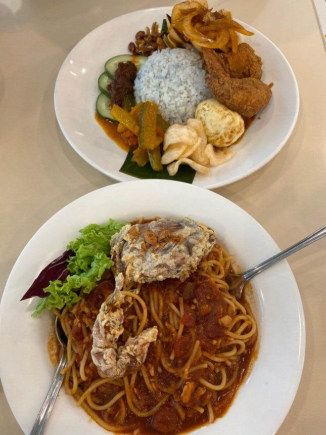 Crossings Nasi Lemak + Chili Crab Spaghetti